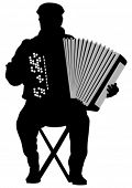 image of aerophone  - Vector drawing of an old man with an accordion - JPG