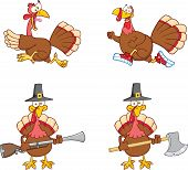 stock photo of musket  - Turkey Birds Cartoon Mascot Characters 1 - JPG