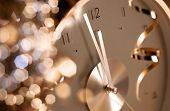stock photo of analog clock  - clock showing midnight at new year - JPG