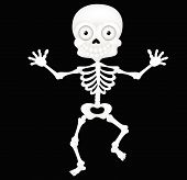 stock photo of funny ghost  - Vector illustration of Funny skeleton cartoon isolated on white background - JPG
