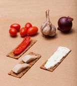 pic of marinade  - Crispbread with cheese and herring onions sweet marinaded pepper - JPG