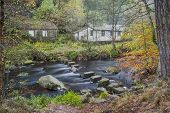 pic of boy scout  - stone steps crosiing a river in autumn woodland - JPG