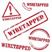 stock photo of wiretap  - Set of vector wiretapped stamp - JPG
