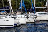 image of marina  - Many boats moored in the harbor in the marina Marmaris - JPG
