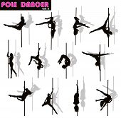 image of pole dancer  - Pole dancer woman vector silhouettes set - JPG