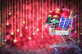 image of boxing day  - Christmas shopping cart with gifts - JPG