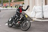 Biker Riding An Old  Motorcycle Scott Tt