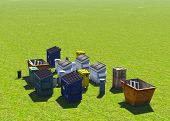stock photo of dumpster  - Dumpsters and skips on the grss - JPG
