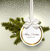 stock photo of pine-needle  - Christmas gift card with ribbon and satin bow - JPG