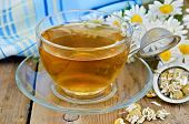 Herbal Chamomile Tea Dry In A Strainer With A Glass Cup