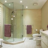 foto of wash-basin  - Interior design of a bathroom in new house - JPG
