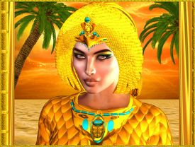 image of nefertiti  - Close up face of Egyptian royal woman with palm trees in background against an orange sunset sky and ocean - JPG