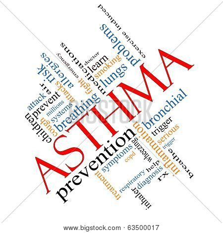 Asthma Word Cloud Concept Angled