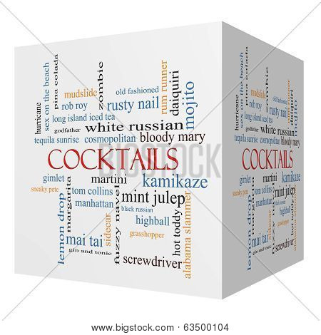 Cocktails 3D Cube Word Cloud Concept