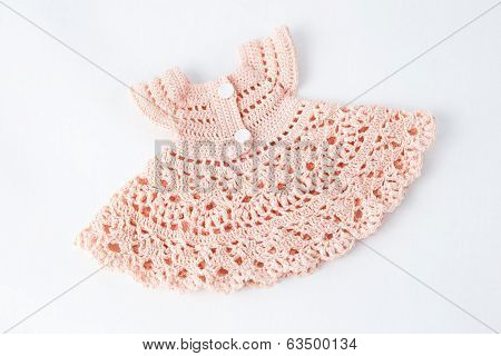 Pink Fishnet Dress Knitted Wool