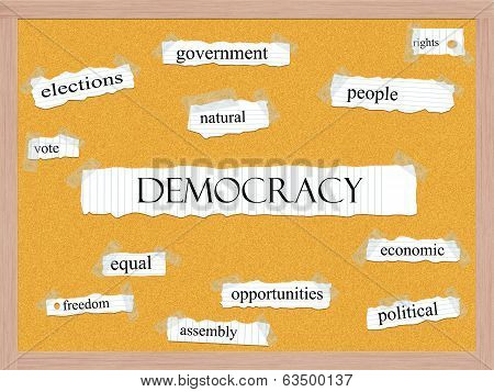 Democracy Corkboard Word Concept
