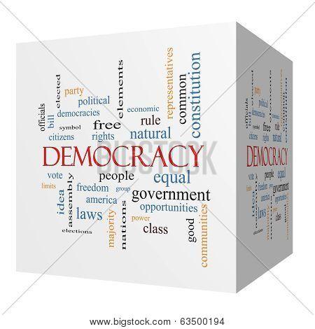 Democracy 3D Cube Word Cloud Concept