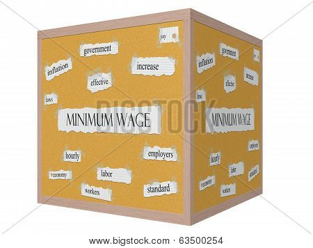 Minimum Wage 3D Cube Corkboard Word Concept