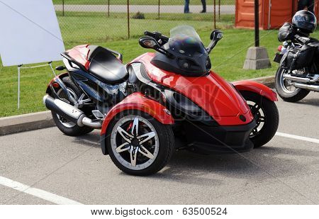 Red Three Wheel Motorcycle