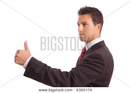 Young Business Man Thumbs Up, Isolated On White