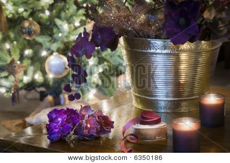 Sparkling Chritsmas Decorations On Wooden Table