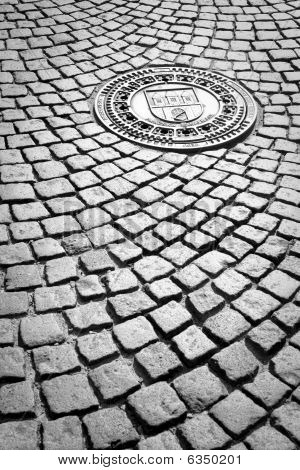 Granite Cobblestones With An Iron Drain Cover