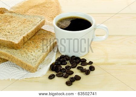 Delicious Breakfast With Fresh Hot Coffee