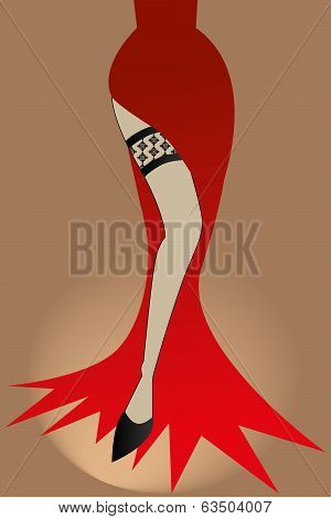 The Legs Of A Revue Girl - Stock Illustration