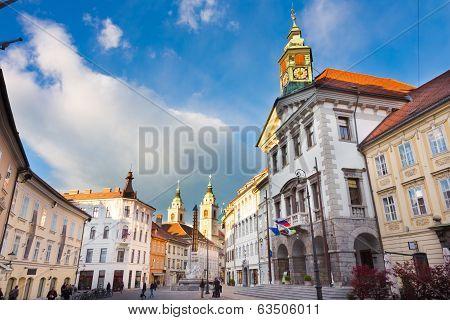 City hall of Ljubljana, Slovenia, Europe.