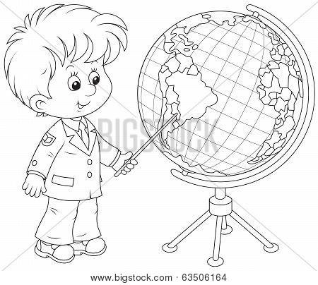 Schoolboy and globe