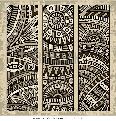 Abstract ethnic pattern card set