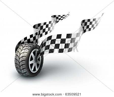 sport racing wheel with flapping flags. Rasterized illustration.