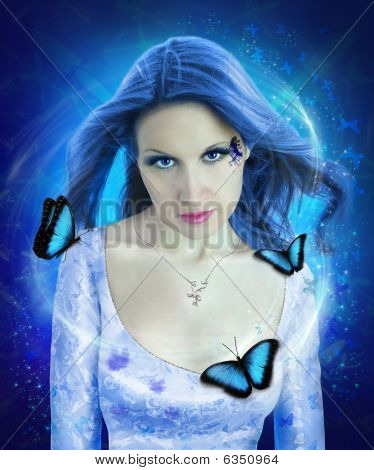 Night Butterfly Woman Collage