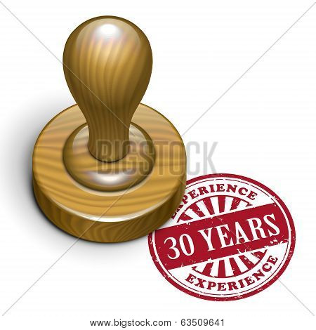 30 Years Experience Grunge Rubber Stamp