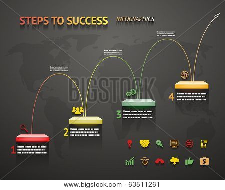 Success Option Steps Template Arrow and Staircase Infographic Icons Vector Illustration