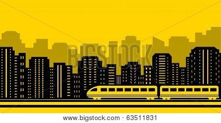 passenger train on city background