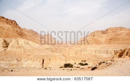 Tourists Hiking In Dead Sea Mountains
