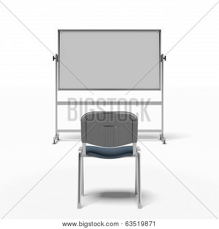 chair and white board
