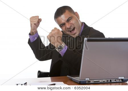 Businessman Is Cheering In Office