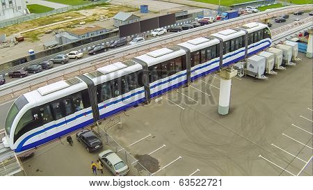 Electric train drive on monorail road, view from unmanned quadrocopter.