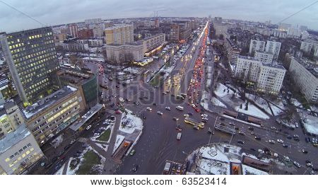 Preobrazhenskaya square at winter in Moscow, Russia. Aerial view