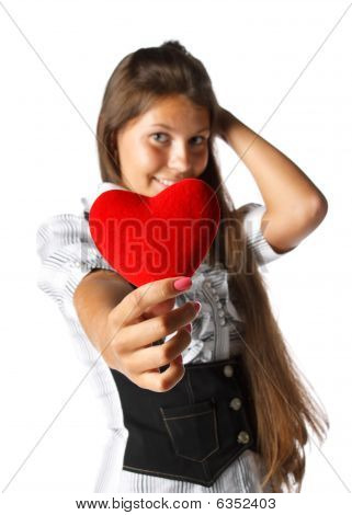 Girl With Red Heart In Hands