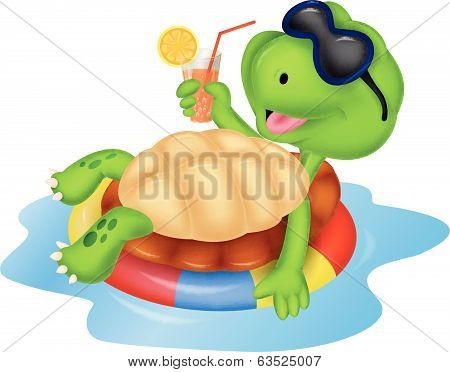 Cute turtle cartoon on inflatable round