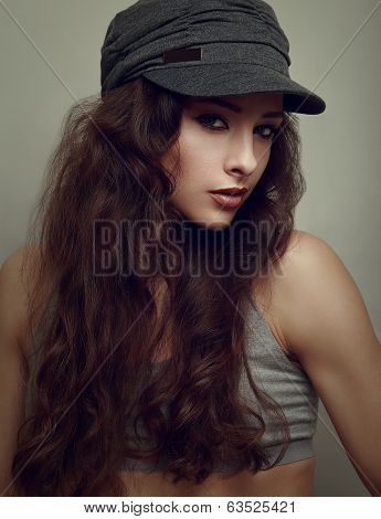 Trendy Hiphop Young Woman In Grey Cap. Closeup Vintage Portrait