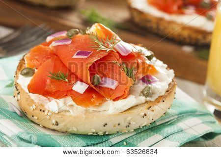 Homemade Bagel And Lox