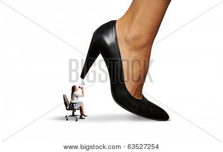 angry woman screaming at big lady boss. isolated on white background
