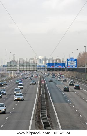 The famous highway A2 niear Amsterdam in the Netherlands