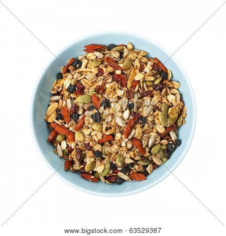 Bowl of homemade granola with various seeds and berries shot from above isolated on white background