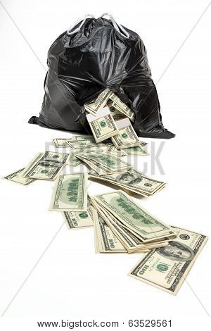 Money in the broken bag