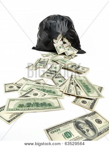 Broken bag of money